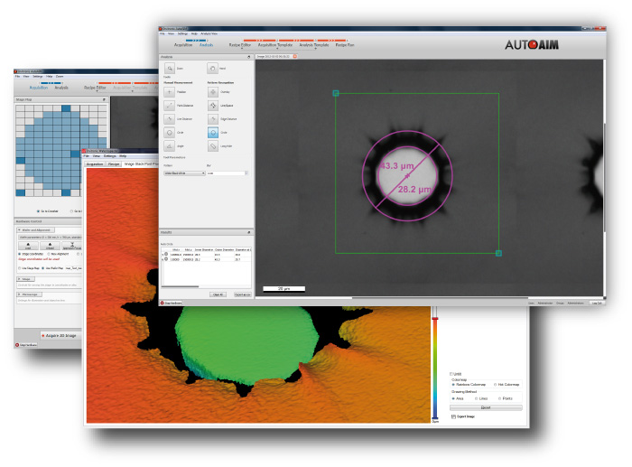 microscope software overview with automatic measurement
